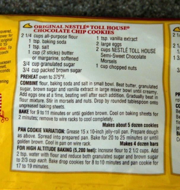 ricetta sul retro (cookies)