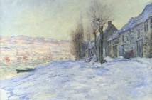 Claude Monet Coucher de soleil sur la neige à Lavacourt 1881