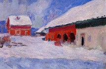Claude Monet red-houses-at-bjornegaard-in-the-snow-norway