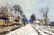 Claude Monet snow-effect-the-road-to-louveciennes
