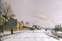 Edouard Béliard Le quai du pothuis a pontoise effet de neige 1875
