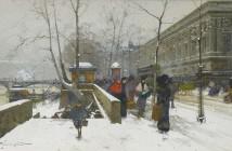Eugène Galien-Laloue Le-quai-du-Louvre-sous-la-neige