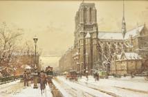 Eugene Galien Laloue Notre-Dame-sous-la-neige
