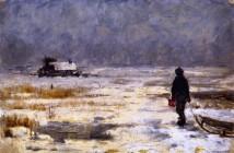 Franz Marc - Ragazzo con la slitta in un paesaggio invernale, 1902 (olio su tela , 27.3 x 40.5 cm - Städtische Galerie im Lenbachhaus - Munich)