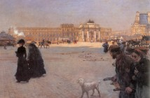 Giuseppe De Nittis La place du arrousel Paris the ruins of the tuileries 1882