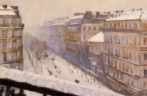 Gustave Caillebotte Boulevard Haussmann in the snow