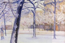 Gustave Caillebotte Park in the snow