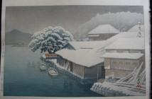 Hasui Kawase snow-at-ishinomaki-1953