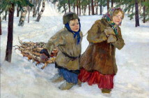 Nikolay Bogdanov-Belsky children-carrying-the-wood-in-the-snow-winter