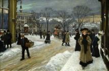 Paul Gustave Fischer Inverno in Kongens Nytorv (Piazza del Re), Copenaghen, 1907