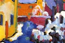 Vasilij Kandinskij - Il cimitero e la canonica a Kochel, 1909