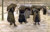 Vincent van Gogh  Donne nella neve che portano sacchi di carbone, 1882