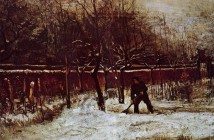 Vincent van Gogh the-parsonage-garden-at-nuenen-in-the-snow-1885-1