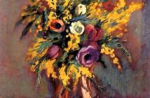 Henri Manguin (Parigi, 1874-1949) - Anemoni e mimose (1943)