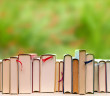 Row of books showing the top edge with pages. spine headband and bookmark, aligned on a white wooden window sill. Behind the glass a defocused green garden and forest fill the background. Reading and studying with relaxation in a sunny morning, with a tranquil and fresh background.